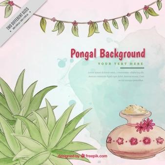 Aquarel achtergrond met decoratieve vegetatie voor pongal