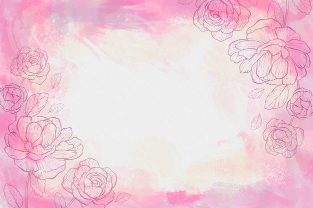Aquarel achtergrond met getekende bloemen en lege ruimte