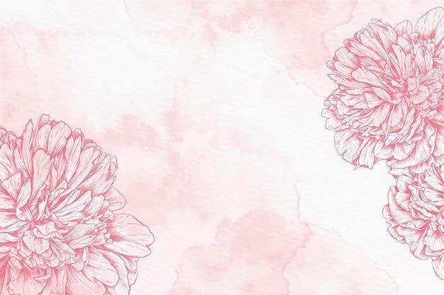 Aquarel achtergrond met getekende bloemen