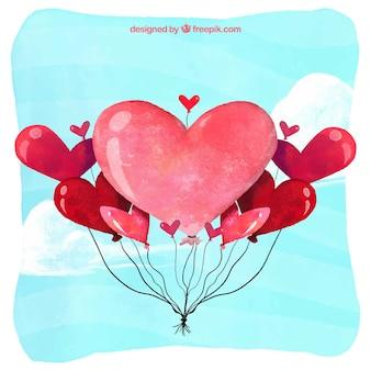 Aquarel achtergrond met hart ballonnen