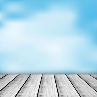 Aquarel achtergrond met houten onderstel