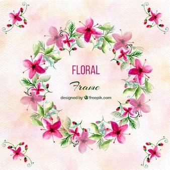 Aquarel achtergrond met mooie bloemen krans