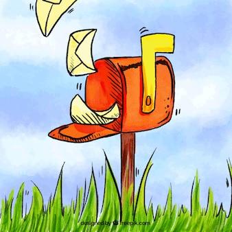 Aquarel achtergrond met rode brievenbus en enveloppen