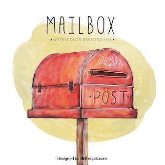 Aquarel achtergrond met rode brievenbus