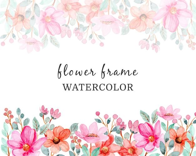 Aquarel achtergrond met roze bloemen en groene bladeren