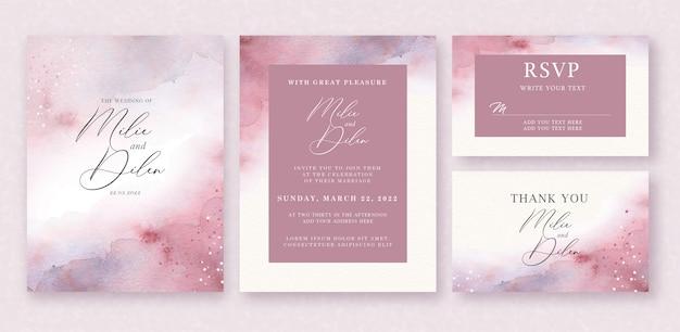 Aquarel achtergrond op bruiloft uitnodiging sjabloon