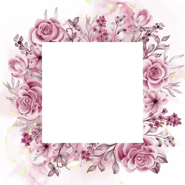 Aquarel achtergrond rose gouden bloemen en bladeren met witruimte