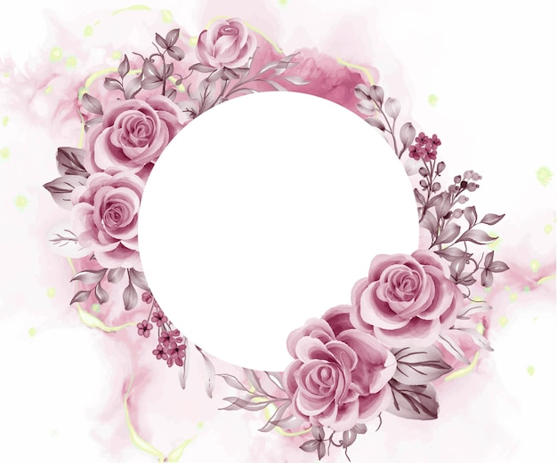 Aquarel achtergrond rose gouden bloemen en bladeren met witte ruimte ronde