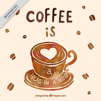 Aquarel achtergrond van de koffie en koffiebonen