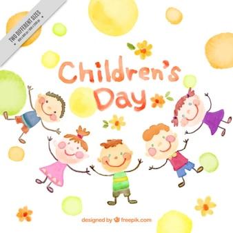 Aquarel achtergrond van gelukkige kinderen en cirkels