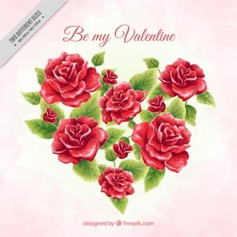 Aquarel achtergrond van het hart gemaakt van rozen