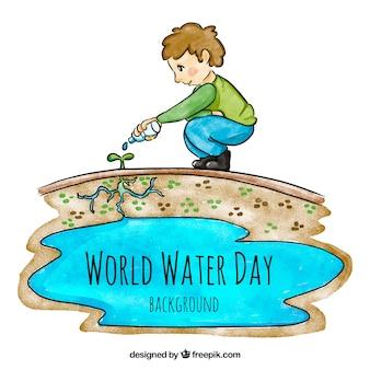 Aquarel achtergrond van kind het water geven een plant
