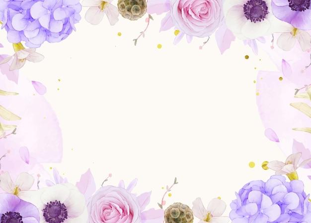 Aquarel achtergrond van roze rozen
