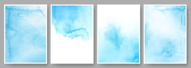 Aquarel achtergronden abstracte poster bruiloft uitnodiging kaartsjabloon met blauwe verf vlekken set
