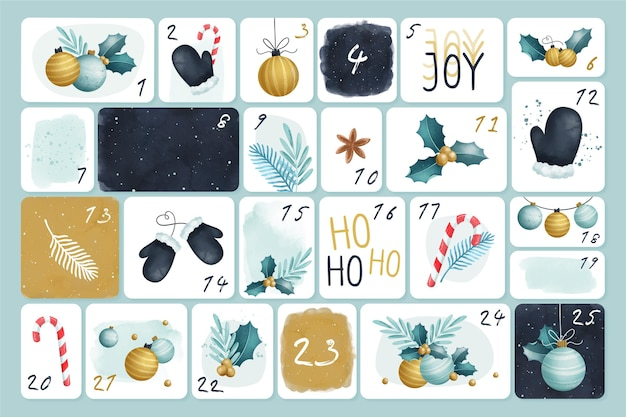 Aquarel adventskalender