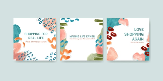 Aquarel adverteren sjabloon set