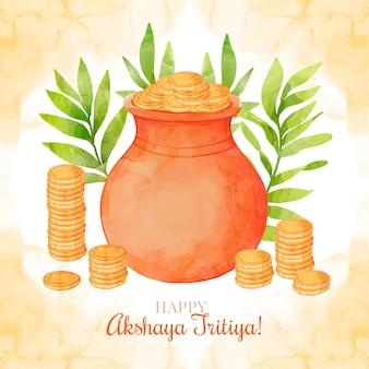 Aquarel akshaya tritiya illustratie