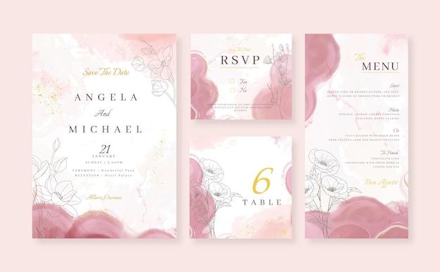 Aquarel alcohol inkt bruiloft briefpapier collectie