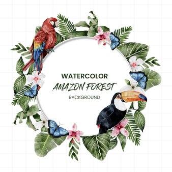 Aquarel amazon bos achtergrond met vogels met bladeren die kunnen worden gedemonteerd kunnen worden geplaatst