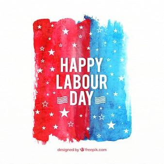 Aquarel amerikaanse dag van de arbeid samenstelling