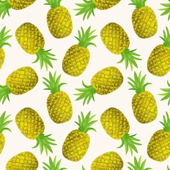 Aquarel ananas naadloze patroon