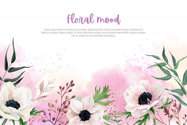 Aquarel anemonen, inschrijving blozen roze achtergrond, hand getrokken