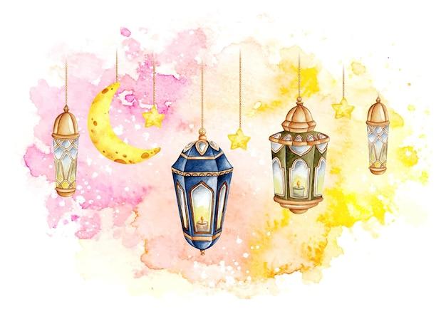 Aquarel arabische lantaarn ramadan kareem