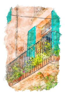 Aquarel architectuur balkon aquarel art print balkon art print digitale download