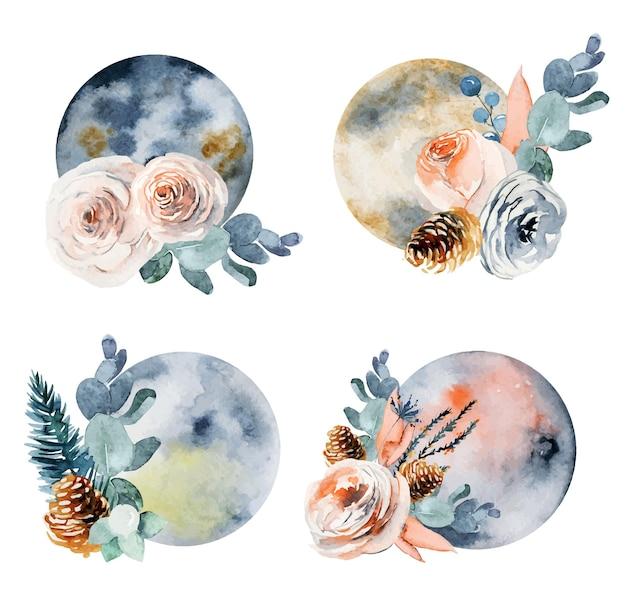 Aquarel artistieke vintage bloemen maan collectie
