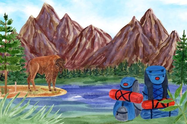 Aquarel avontuur achtergrond