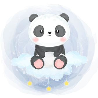 Aquarel baby panda illustratie