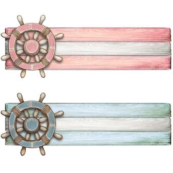 Aquarel baby pastel tags met vintage roer