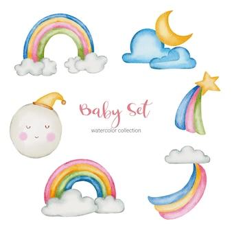Aquarel baby speelgoed en accessoires illustratie. babyspullen set van nature