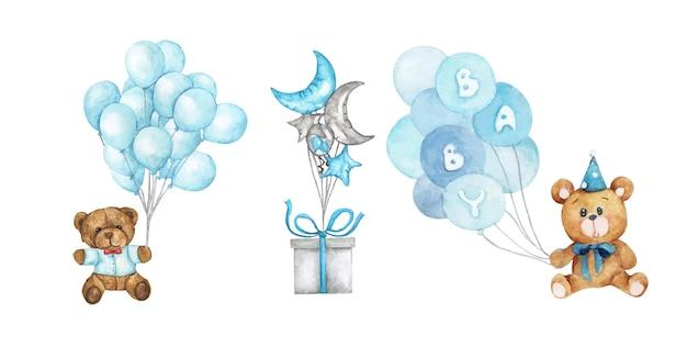 Aquarel babydouche. set ontwerpelementen.