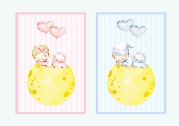 Aquarel babyjongen en babymeisje slapen op de maan met gratis ballonnen