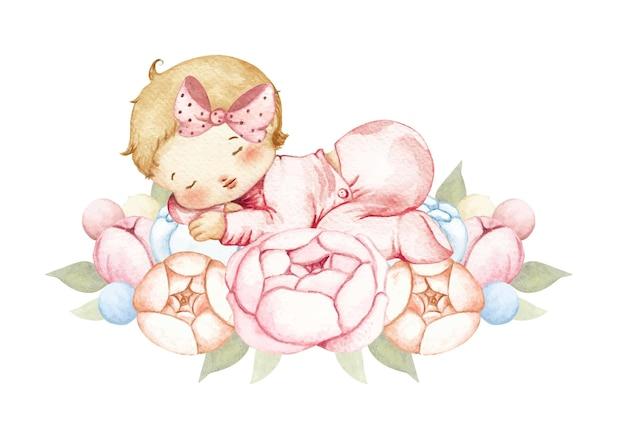 Aquarel babymeisje slapen op de bloem