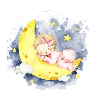 Aquarel babymeisje slapen op de maan gratis
