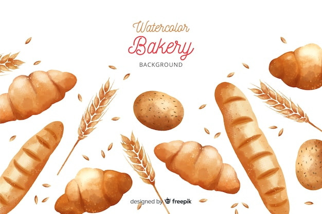 Aquarel bakkerij achtergrond
