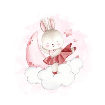 Aquarel ballerina konijn dansen op de wolk