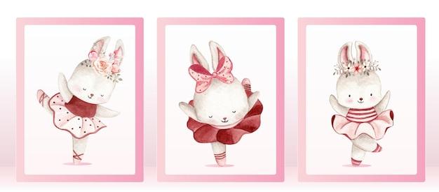 Aquarel ballerina konijn