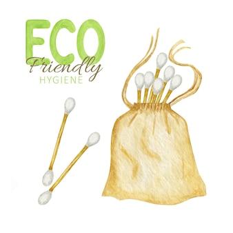 Aquarel bamboe wattenstaafjes met zak.