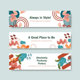 Aquarel banner sjabloon set