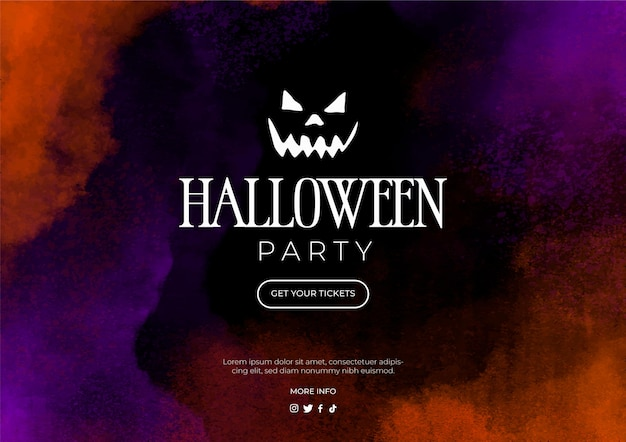 Aquarel banner voor halloween-feest