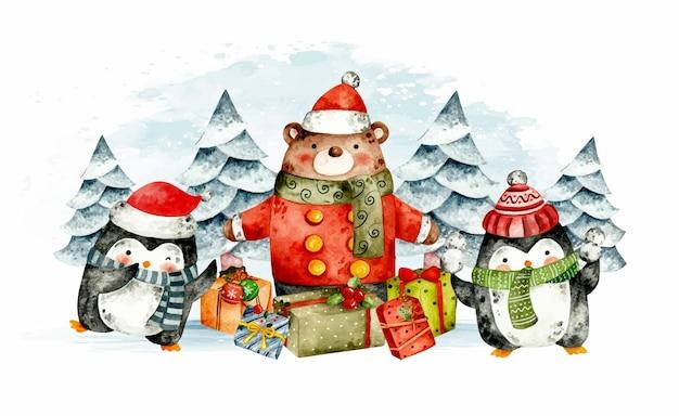 Aquarel beer en pinguïn met kerstcadeaus