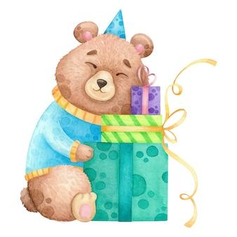 Aquarel beer met verjaardagscadeautjes.
