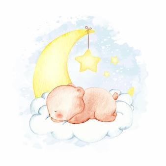 Aquarel beer slapen op de wolk