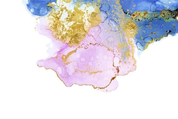 Aquarel behang met gouden folie