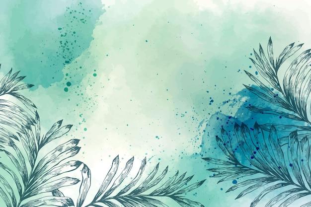 Aquarel behang met hand getrokken elementen