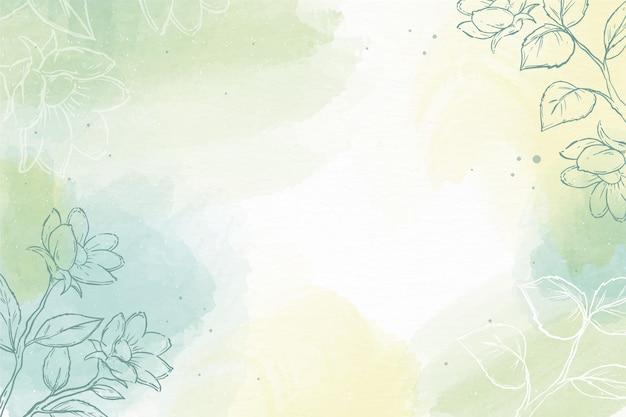 Aquarel behang met handgetekende elementen