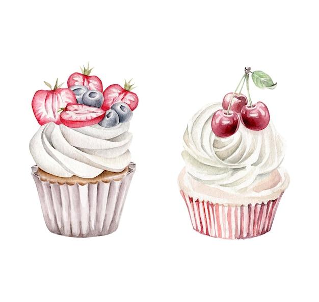 Aquarel bessen cupcakes